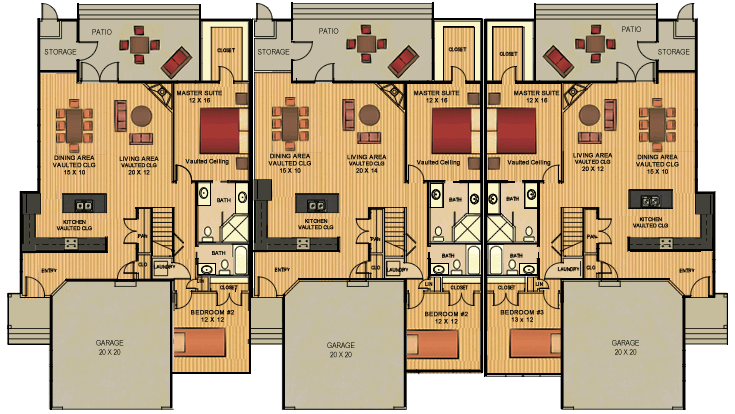 Floor plans for Triplex plans