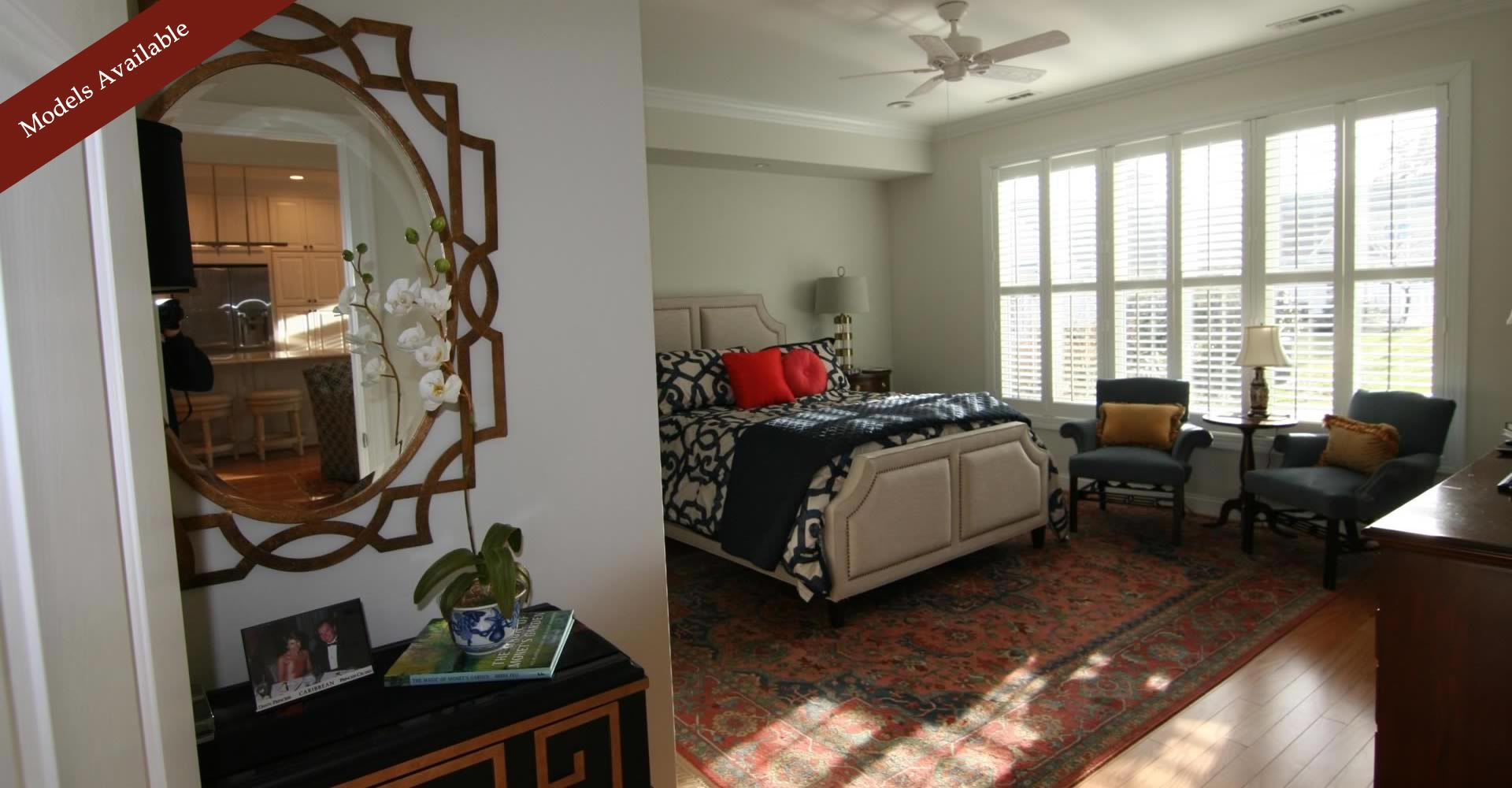 Large master suite has full bath and walk-in closets.